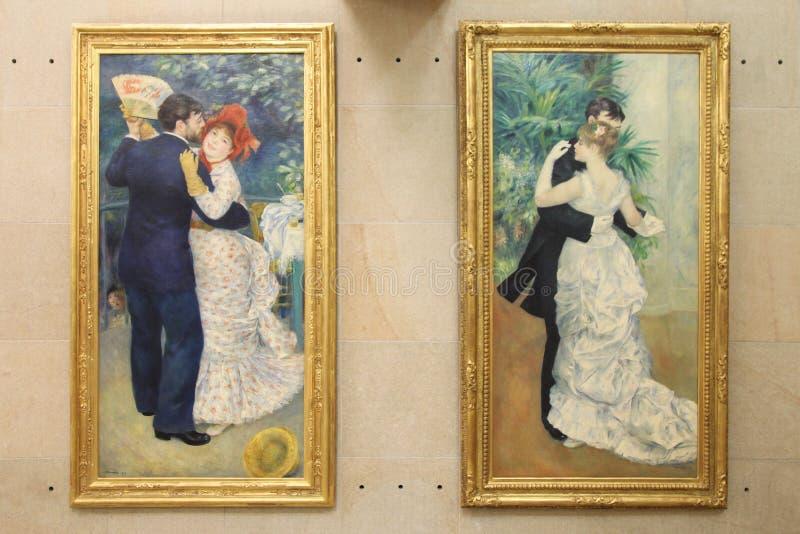 Schilderijen door de Dans van Pierre Auguste Renoir ` in de stad ` en `-Dans in het dorp ` Parijs 01 10 2011 stock foto's
