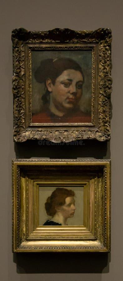 Schilderijen door Hilaire German Edgar Degas in het National Gallery in Londen stock fotografie