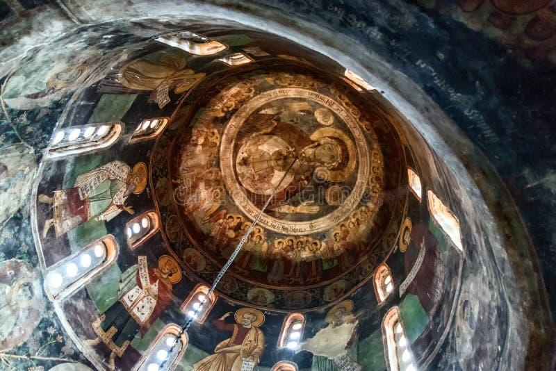 Schilderijen en fresko's binnen St Naum kerk op meer Ohrid, Foelie royalty-vrije stock afbeeldingen