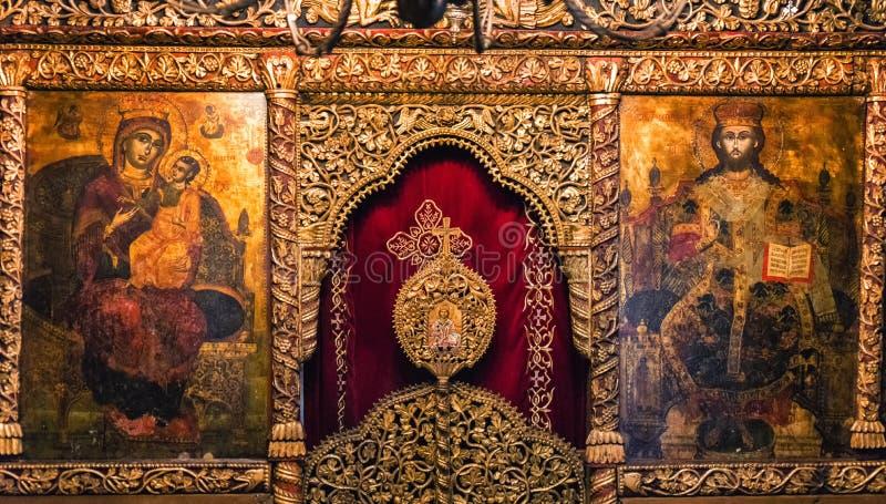 Schilderijen en fresko's binnen St Naum kerk op meer Ohrid, Foelie stock foto