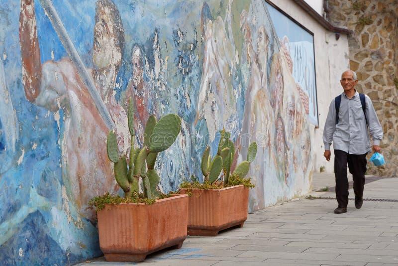 Schilderijen op het stadhuis van Manarola stock afbeeldingen