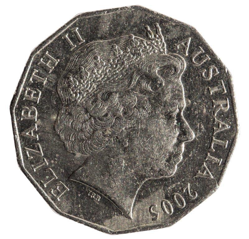 Schildern 50 Cents australische Münzen Ihre Majestät Elizabeth II, die Königin von Australien-Jahr 2005, lokalisiert auf weißem H lizenzfreie stockbilder