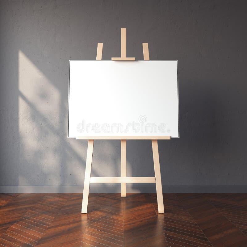 Schildersezel en leeg wit canvas in helder binnenland het 3d teruggeven stock afbeeldingen