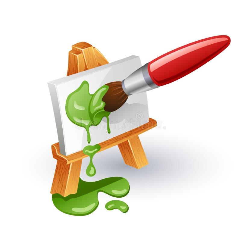 Schildersezel en penseel stock illustratie