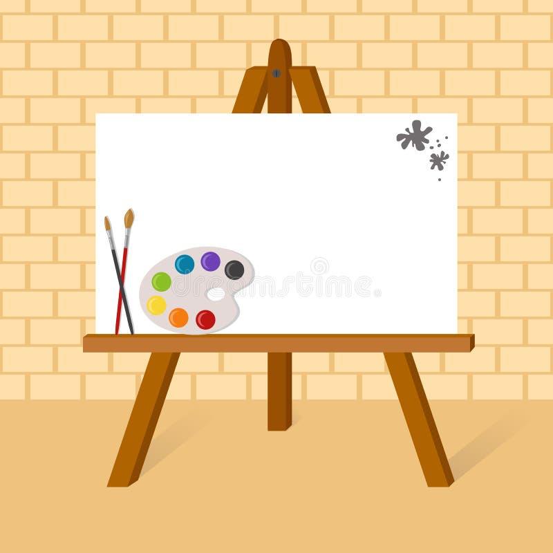 Schildersezel met canvas royalty-vrije illustratie