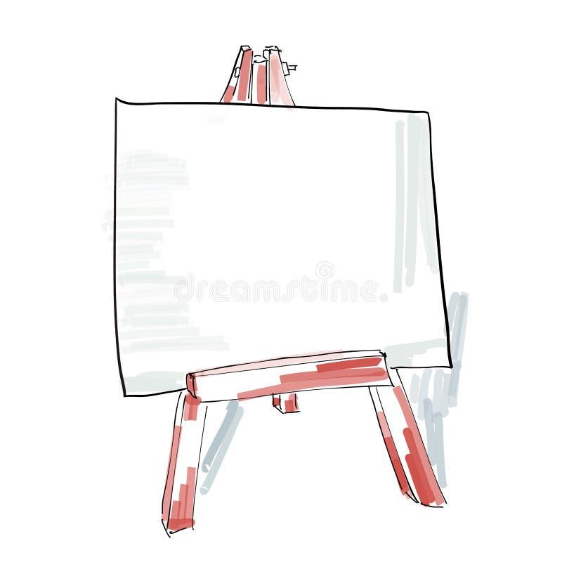 Schildersezel met de lege stijl van de canvaskrabbel, schetsillustratie stock illustratie
