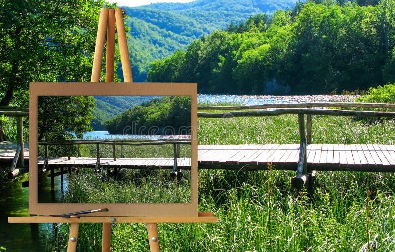 Schildersezel met de Meren van een het schilderen het Parkplitvice van de waterverfreserve, Cr stock foto