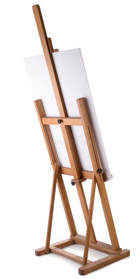 Schildersezel met leeg canvas stock fotografie