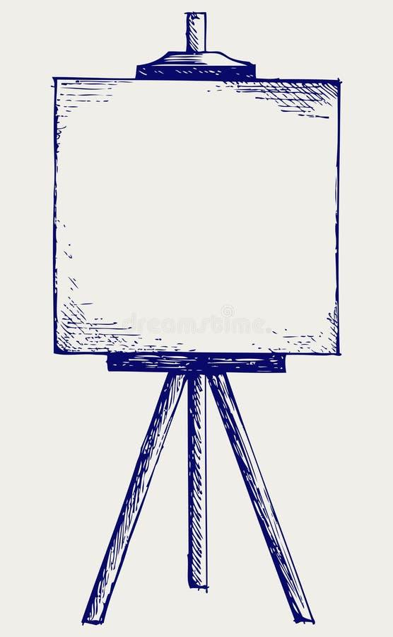 Schildersezel met leeg canvas royalty-vrije illustratie