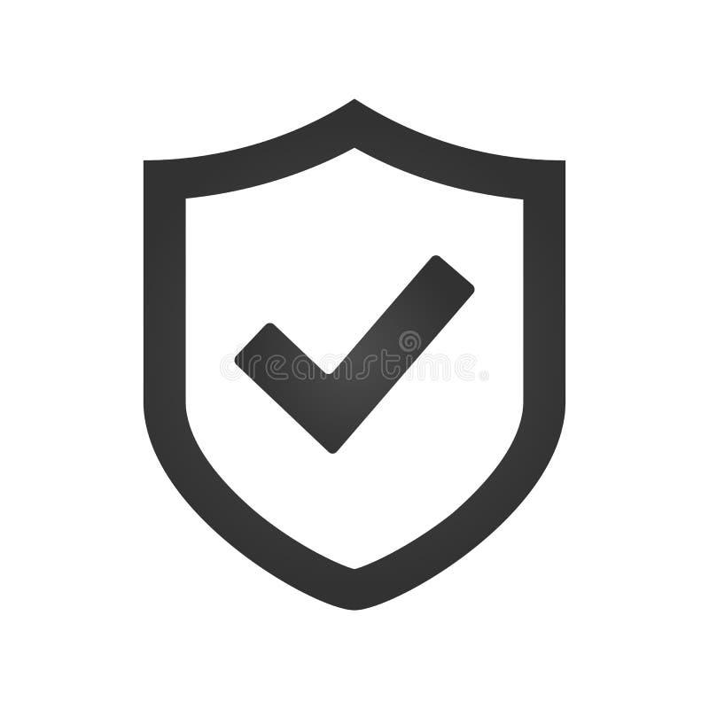 Schildhäkchenlogoikonen-Designschablone, Vektorillustration lizenzfreie abbildung