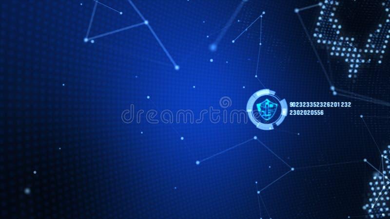 Schildikone auf sicherem globalem Netzwerk, Technologienetz und Internetsicherheitskonzept Schutz f?r weltweite Verbindungen Erde vektor abbildung