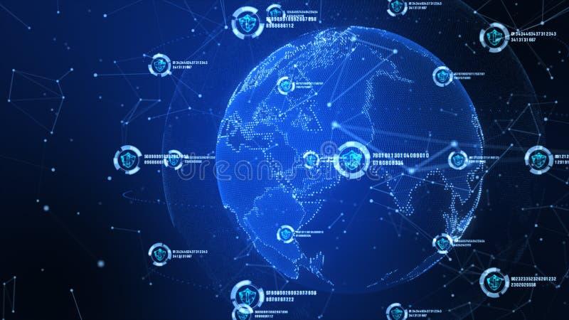 Schildikone auf sicherem globalem Netzwerk, Technologienetz und Internetsicherheitskonzept Schutz f?r weltweite Verbindungen Erde stock abbildung