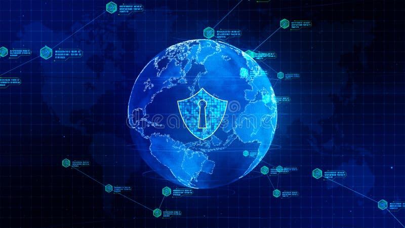 Schildikone auf sicherem globalem Netzwerk, Technologienetz und Internetsicherheitskonzept Schutz f?r weltweite Verbindungen Erde lizenzfreie abbildung