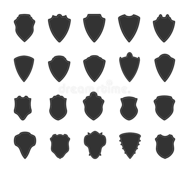 Schildikonensatz Die Basis für heraldische Embleme, Vereine und Zeichen vektor abbildung