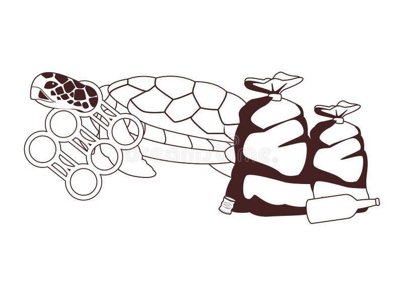 Schildkröte gehaftet mit ein sixpack Plastikringen in Schwarzweiss lizenzfreie abbildung
