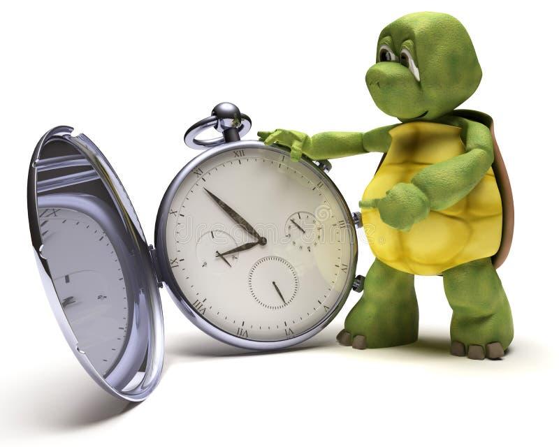 Schildkröte mit einer klassischen Taschenuhr vektor abbildung