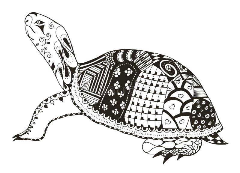 Schildkröte zentangle stilisiert Vektor, Illustration, freihändiger Bleistift vektor abbildung