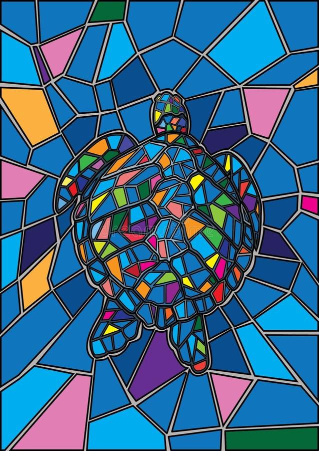 Schildkröten-Buntglas und mehrfarbiges Glas stock abbildung