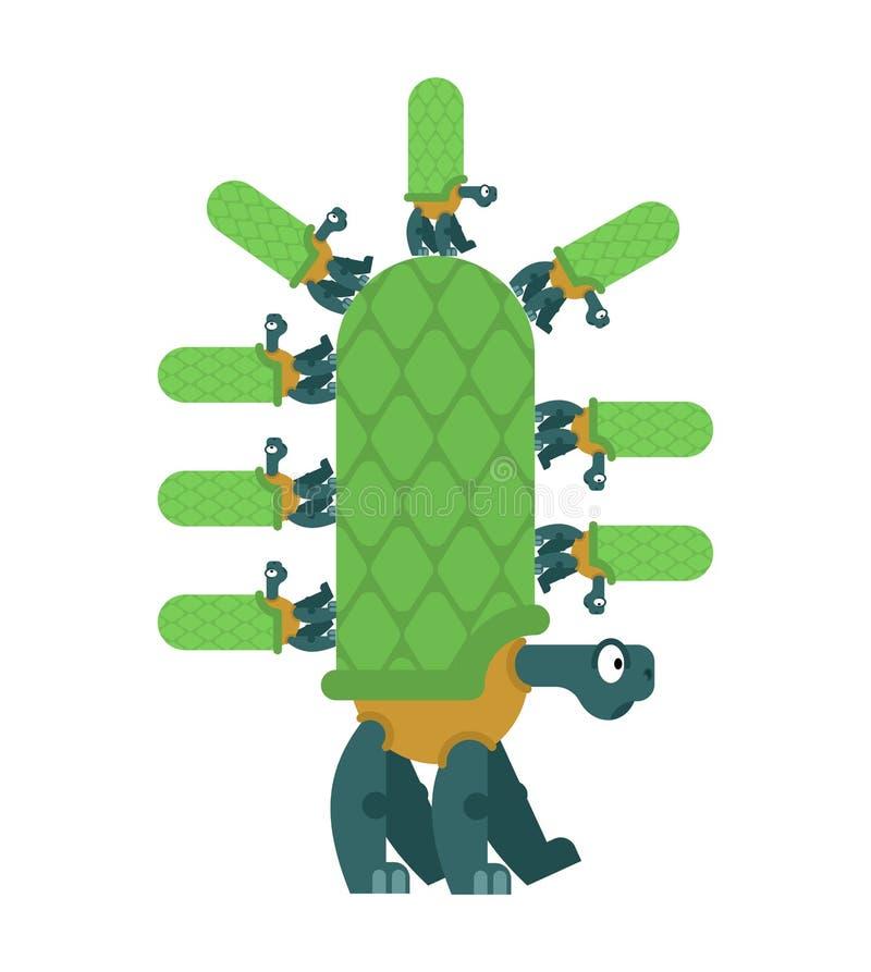 Schildkröten-Familie nette Amphibie mit hohem Oberteil lizenzfreie abbildung