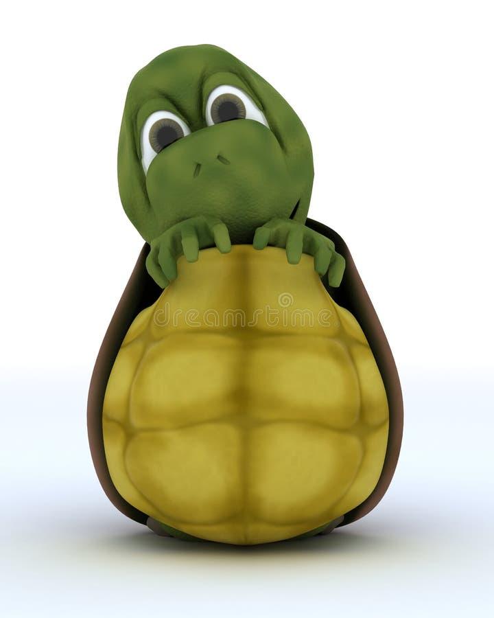 Schildkröten-Karikatur, die in ihrem Shell sich versteckt lizenzfreie abbildung
