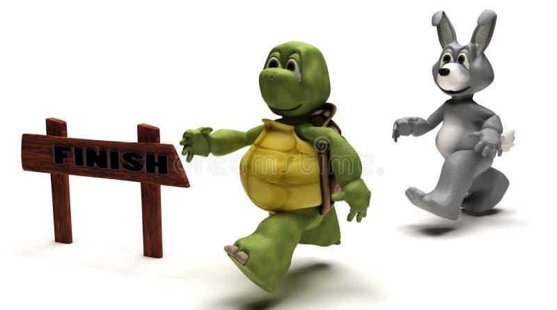 Schildkröten- und Haserennenmetapher lizenzfreie abbildung