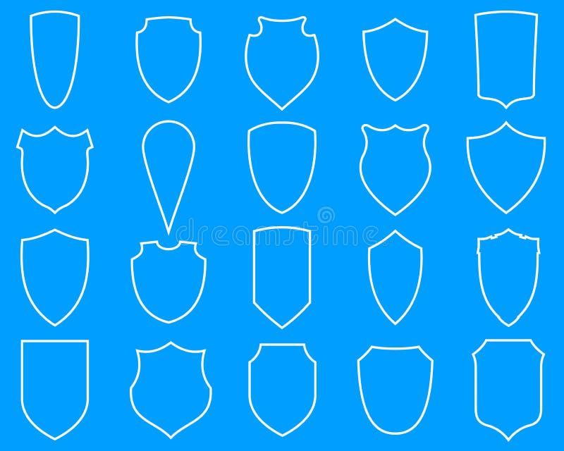 Schildlinie Ikonen vektor abbildung