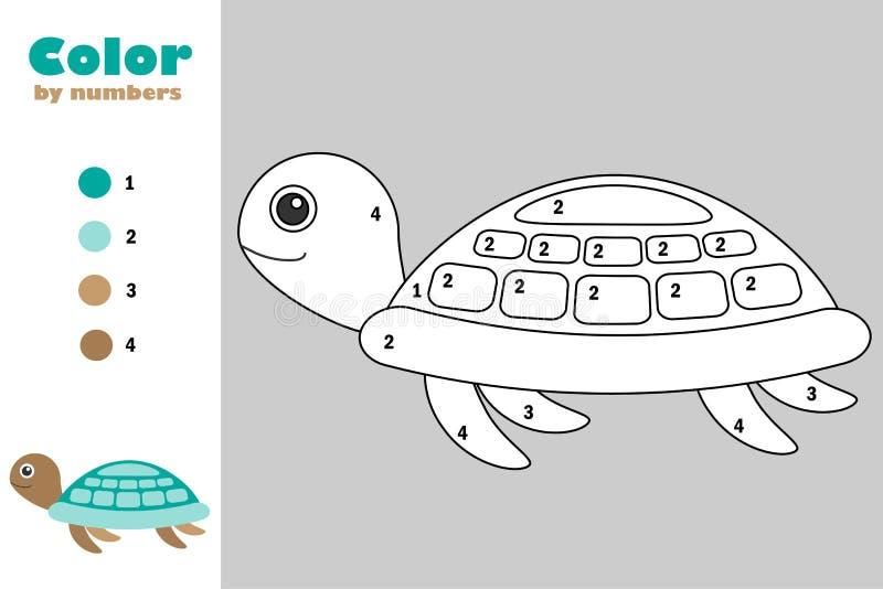 Schildpad in beeldverhaalstijl, kleur door aantal, onderwijsdocument spel voor de ontwikkeling van kinderen, kleurende pagina, jo royalty-vrije illustratie
