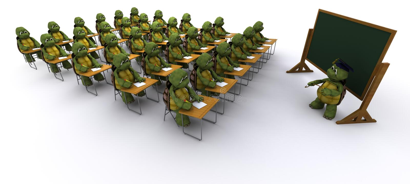 Schildpad die bij schoolbank wordt gezeten vector illustratie