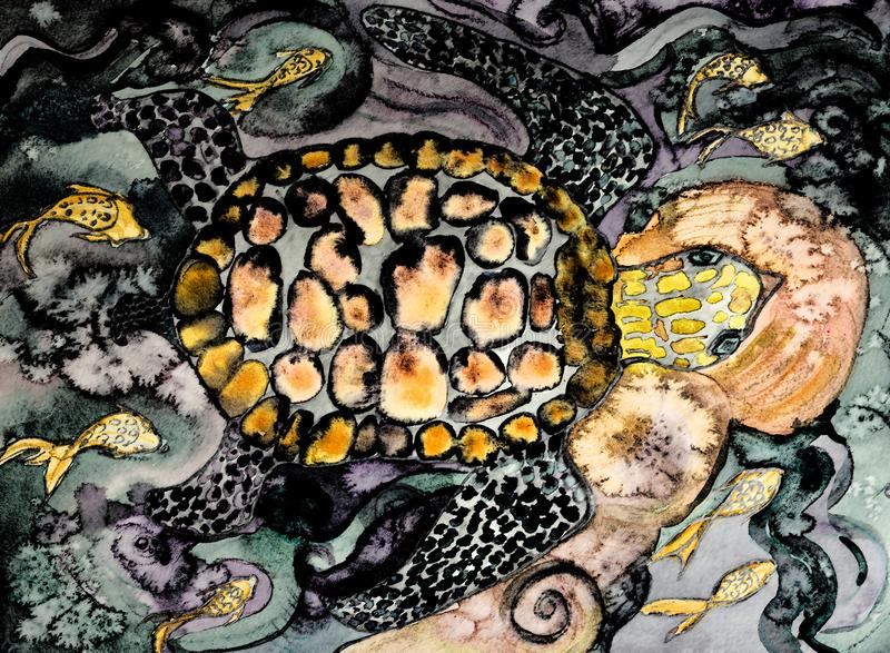 Schildpad die boven rotsen zwemmen royalty-vrije illustratie