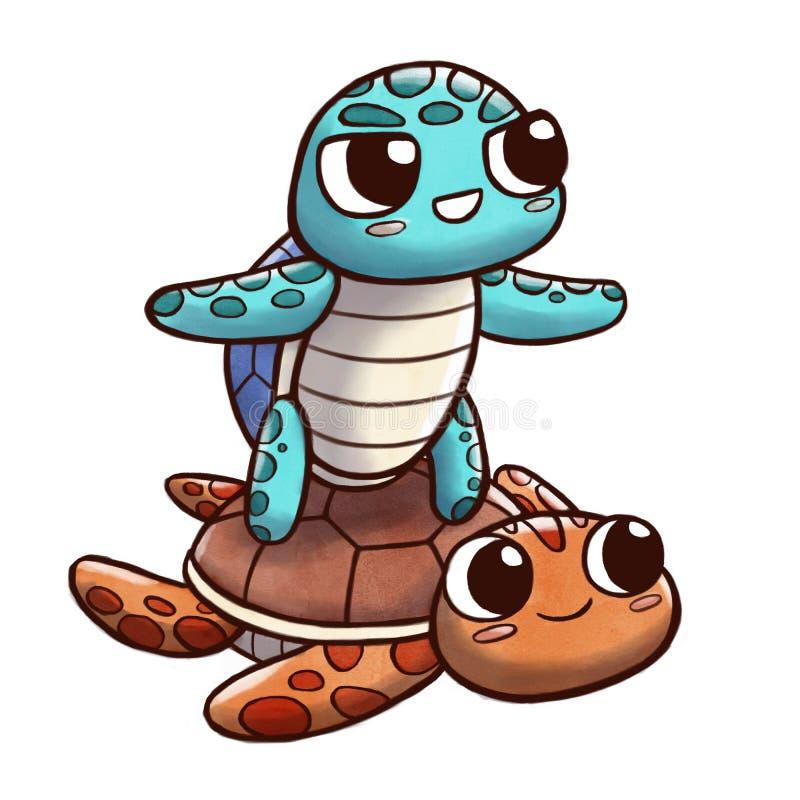 Schildpad die een andere die schildpad surfen - op witte achtergrond wordt geïsoleerd vector illustratie