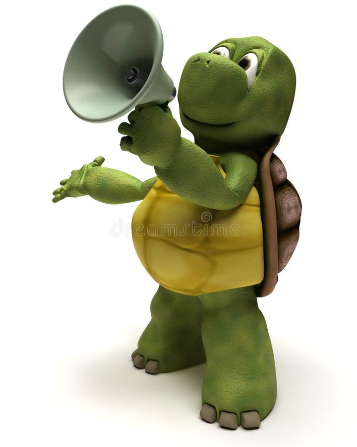 Schildpad die in een megafoon schreeuwt vector illustratie