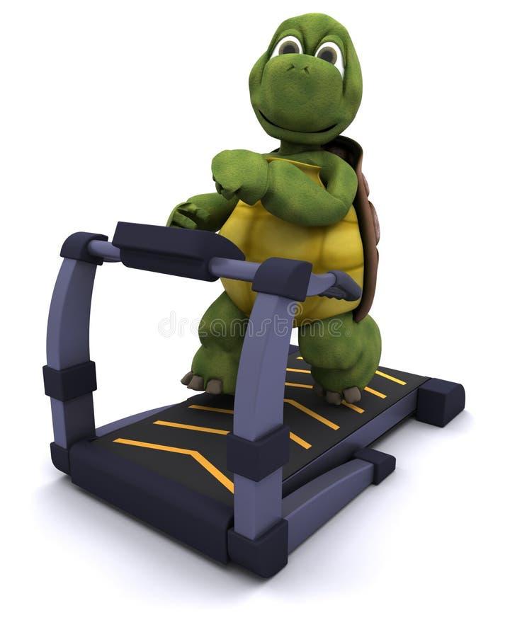 Schildpad die op een tredmolen loopt royalty-vrije illustratie