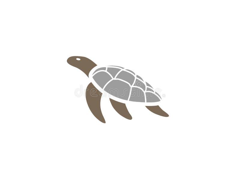 Schildpad of schildpad die voor de illustratie van het embleemontwerp zwemmen vector illustratie