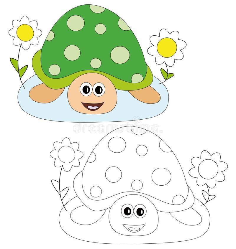 Schildpad en bloemen vector illustratie