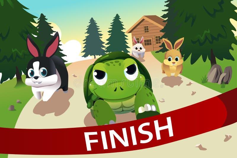 Schildpad en hazen het rennen vector illustratie