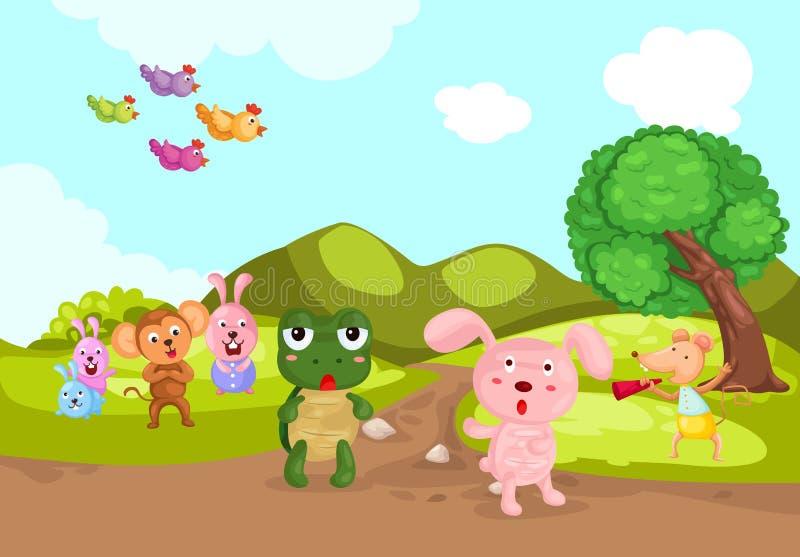 Schildpad en konijn het rennen vector illustratie