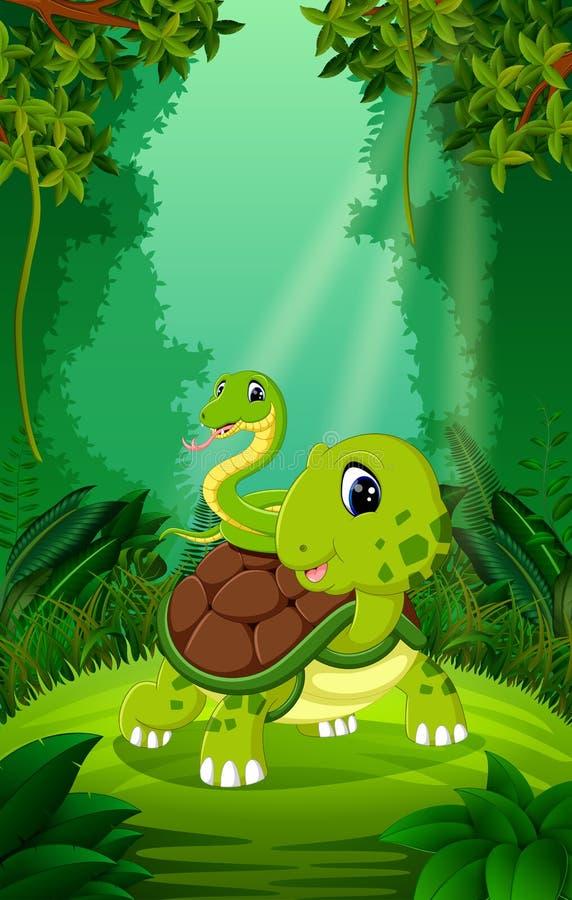 Schildpad en slang in het duidelijke en groene bos royalty-vrije illustratie