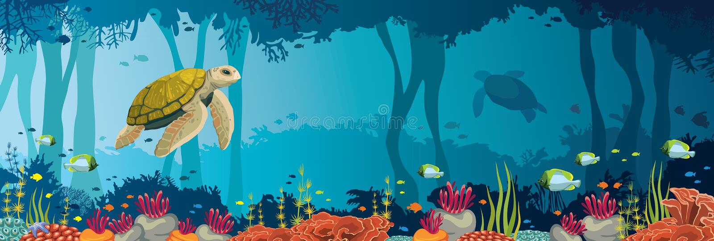 Schildpad, koraalrif, onderwaterhol en hol Onderwateroverzees royalty-vrije illustratie