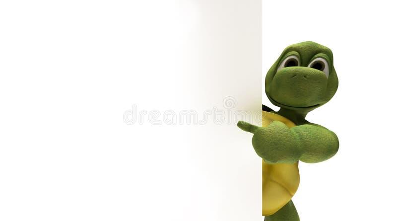 Schildpad met een leeg wit teken stock illustratie