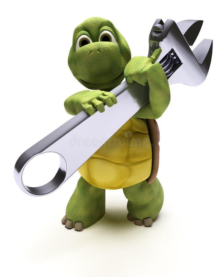 Schildpad met een moersleutel vector illustratie