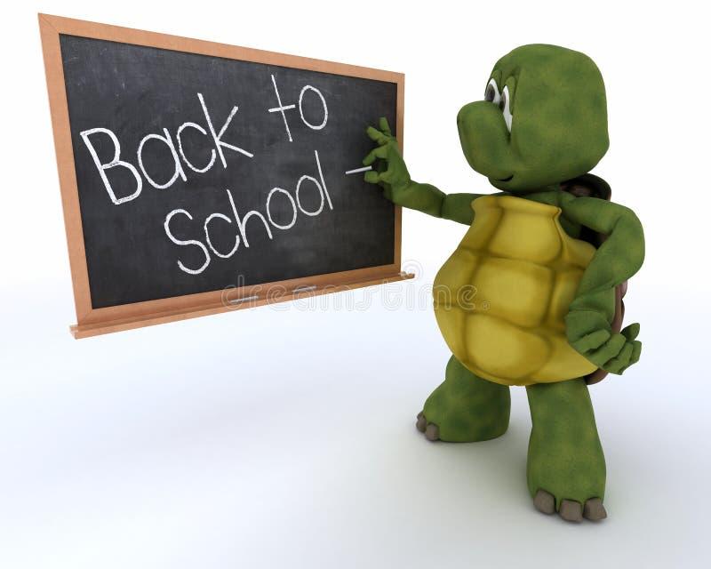 Schildpad met schoolschoolbord terug naar school stock illustratie