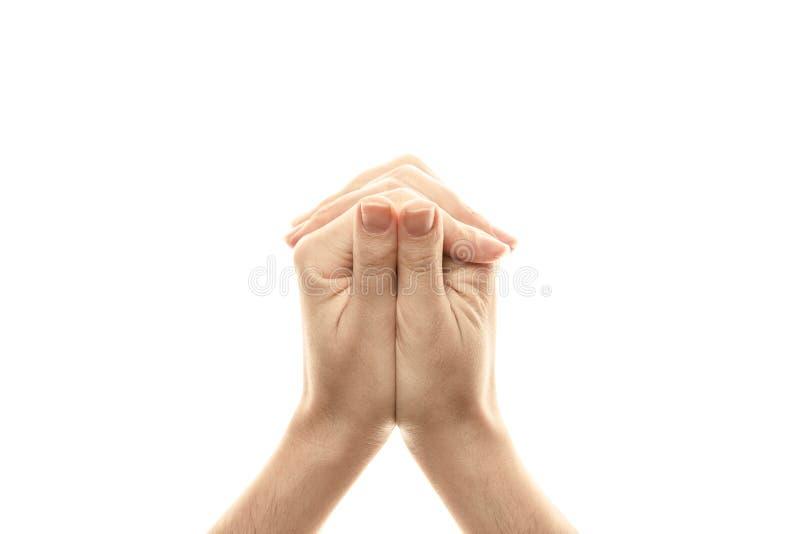 Schildpad Mudra, yoga voor de vingers, een ritueel gebaar in Boeddhisme Ge?soleerdj op witte achtergrond royalty-vrije stock foto's