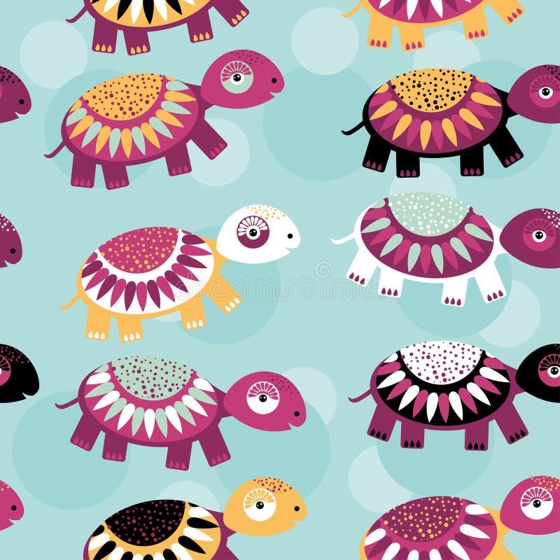 Schildpad Naadloos patroon met grappig leuk dier op een blauwe backgro stock illustratie