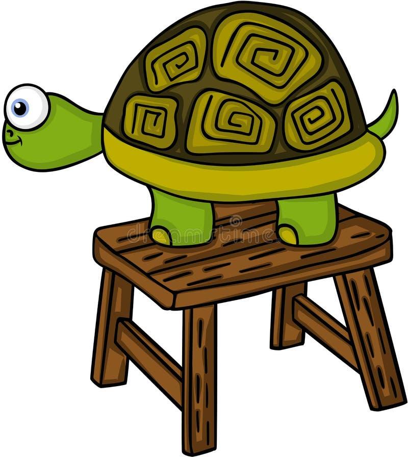 Schildpad op weinig houten bank royalty-vrije illustratie