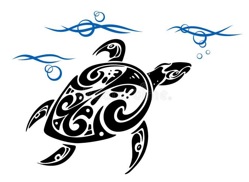 Schildpad in overzees water vector illustratie