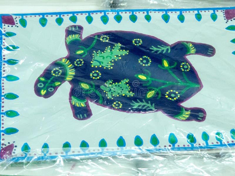 Schildpad of Schildpad Paintig op Stof royalty-vrije stock afbeelding