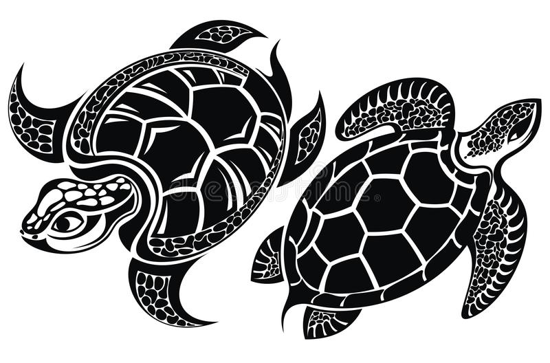 Schildpad Tatoegering Design royalty-vrije illustratie