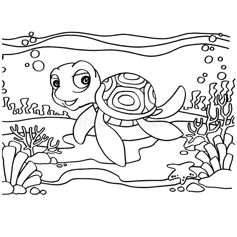 Schildpadden die Pagina'svector kleuren royalty-vrije illustratie