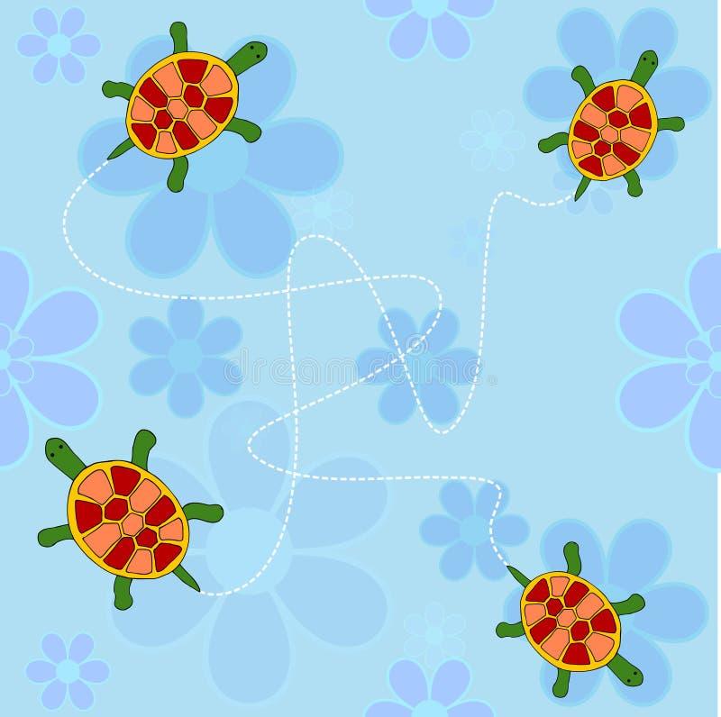 Schildpadden en bloemen stock illustratie