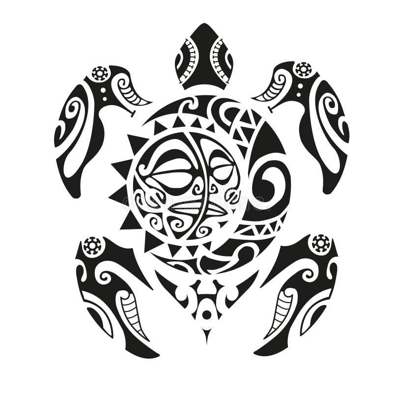 Schildpadtatoegering in Maoristijl Vector illustratie EPS10 royalty-vrije illustratie